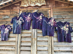 The Stars Will Guide Us Vneck Tee in Purple Batikwalla by Victoria