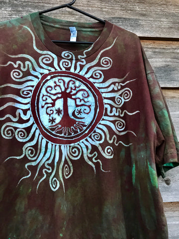 Earth Tree Sun Mandala Handmade Batikwalla Tshirt - Men's Size 3X Tall