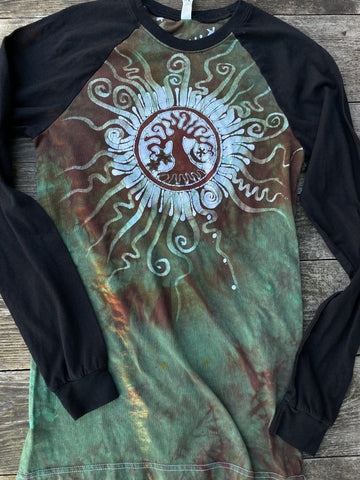 Green Tree of Life Sun Mandala Black Raglan Long Sleeve Batik by Batikwalla