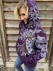 Tree Moon Magic All Around Me in Glowing Earth Purple Pullover Hoodie - Handcrafted Batik hoodie batikwalla