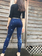 navy blue moon and star batik leggings back