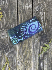 Teal Moonbeams Fold Over Headband - Organic Cotton Batikwalla by Victoria