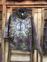 Sage Goddess Purple Tree Of Life Pullover Batik Hoodie - Handcrafted In Organic Cotton hoodie batikwalla Medium