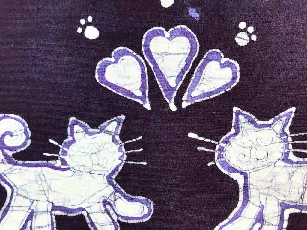 Kitties Are So Cute Hand Painted Batik Fabric Scarf - Batikwalla   - 1