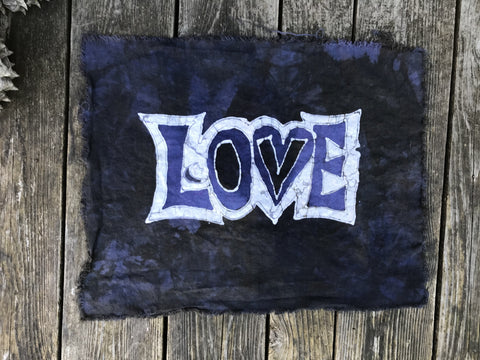Love Batik Fabric - Dark Blue Sage Purple - 100% Woven Cotton Fabric