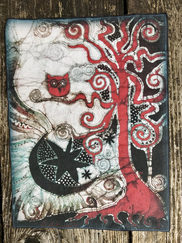 Owl Tree Batik Fabric Print Patch