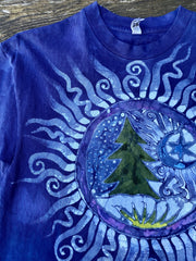 Tree of Life - Kaleidoscope Forest Hand-painted Batik Tshirt - Size Medium tshirt batikwalla