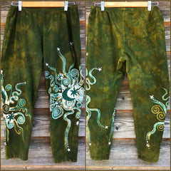 Dancing Green Batik CAPRI Leggings leggings batikwalla 2XL