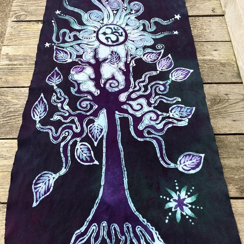 Om Tree Hand Painted Batik Fabric Scarf