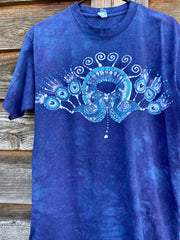 Kissing Peacocks Purple & Blue Handmade Batikwalla Tshirt Tshirts batikwalla Medium