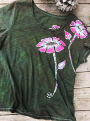 Flower Power in Tourmaline Temptation Handmade Batik Summer Tee