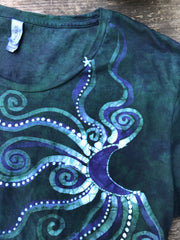 Teal and Purple Moonbeams Handmade Batik Scoop Neck Tshirt - Size Large