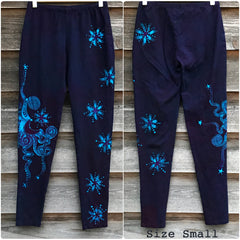 Deep Purple and Turquoise Moon & Star Batikwalla Yoga Leggings - Size Large ONLY