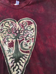 Red Earth Heart Tree - Hand Crafted Batik Tshirt Batikwalla by Victoria