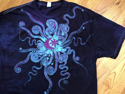 Deep Blue and Purple Moonbeams Handmade Batik Tshirt - Size XL