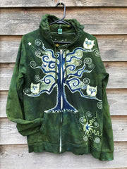 Dancing Green Owls In A Tree Organic Cotton Batik Hoodie - Unisex Size Large