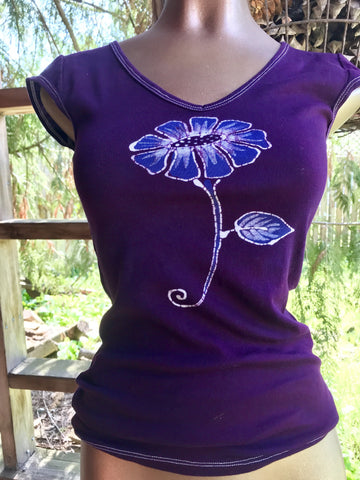 Flower Power In Purple Passion Handmade Batik Summer Tee