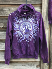 Magenta Magick Tree Of Life Pullover Batik Hoodie - Handcrafted In Organic Cotton hoodie batikwalla Small