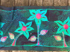 Flower Garden Magic - Hand Painted Batik Fabric Scarf