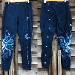 Navy Blue Moon and Stars Batik Leggings leggings batikwalla Large