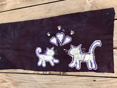 Kitties Are So Cute Hand Painted Batik Fabric Scarf - Batikwalla   - 2