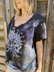 Amethyst Forest Cotton Handmade Batik Top - Large Batik Dresses Batikwalla