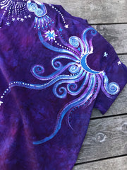 Moonlight Guides Us In Glowing Purple Handmade Batik Tshirt - Size Medium tshirt batikwalla