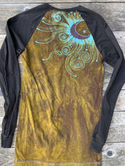 Turquoise Aura Tree Black Raglan Long Sleeve Batik Top by Batikwalla Batikwalla