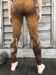 Glorious Gold and Perfect Purple Sun Stars Batikwalla Yoga Leggings
