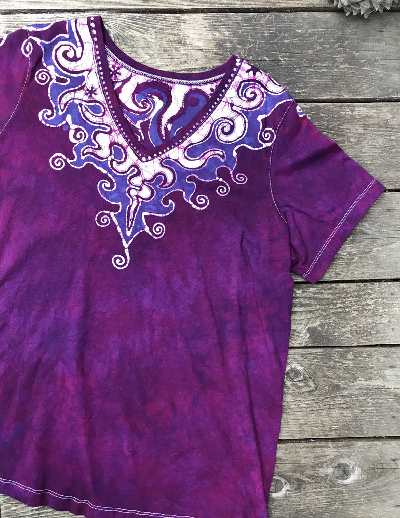 Magenta Super Belle Handmade Batik Top - Plus Size Large Vneck