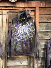Sage Goddess Purple Tree Of Life Pullover Batik Hoodie - Handcrafted In Organic Cotton hoodie batikwalla Large