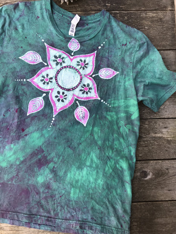 Preppy Rebel Flower Power Handmade Batik Tshirt - Size XL
