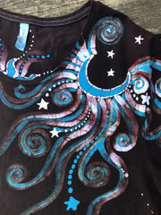 Rust and Turquoise Moonbeams Handmade Batik Scoop Neck Tshirt - Size XL