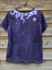 Internal Flames Of Purple Passion Vneck Top - Size Medium Tops batikwalla