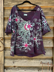 Garden Of Eden Organic Cotton Handmade Batik Top, Size 3X +Plus Batik Dresses Batikwalla