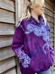 Purple Star Magick With Perpetual Swirls Pullover Hoodie - Handcrafted Batik - Size SMALL hoodie batikwalla