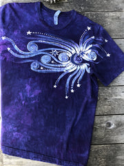 Midnight Moonbeams Skyline Handmade Tshirt - Size XL