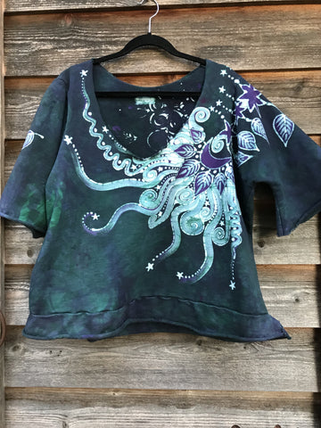 Teal Purple Moon Organic Cotton Handmade Batik Top, Size 2X Plus