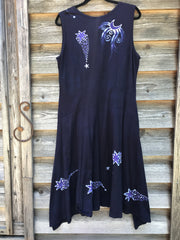 Stargazer In Midnight Blue Handmade Batik Dress - 2X ONLY Batik Dresses Batikwalla