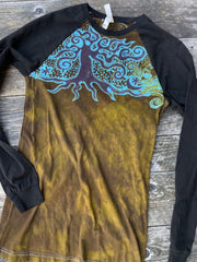 Turquoise Aura Tree Black Raglan Long Sleeve Batik Top by Batikwalla Batikwalla Small