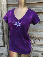 Center Star in Bright Purple Hand Painted Vneck Tee - Size MEDIUM Only