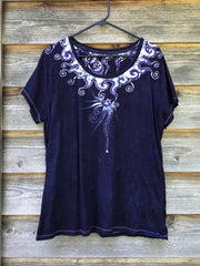 Navy Blue Summer Batik Necklace Tee