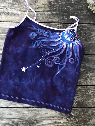 Purple Moon Batik Stretchy Handmade Yoga Camisole