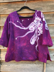 Berry Moon Deep Vneck Organic Cotton Handmade Batik Top, Size XL + Batik Dresses Batikwalla