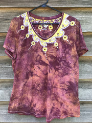 Strawberry Sunrise Handmade Batik Necklace Tee - Plus Size - 1X