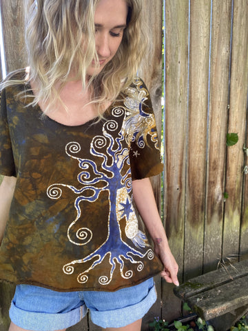 Roots Run Deep Organic Cotton Handmade Batik Top, Size Large