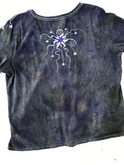 Sage and Purple Moonbeams Handmade Batik Summer Vneck Tee - Plus Size - 3X