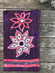 Flower Power Batik Wallhanging / Cotton Fabric Bandana scarf batikwalla