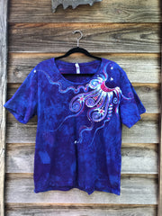 Blue Skies Moonbeams Handmade Batik Scoop Neck Tshirt - Size Large