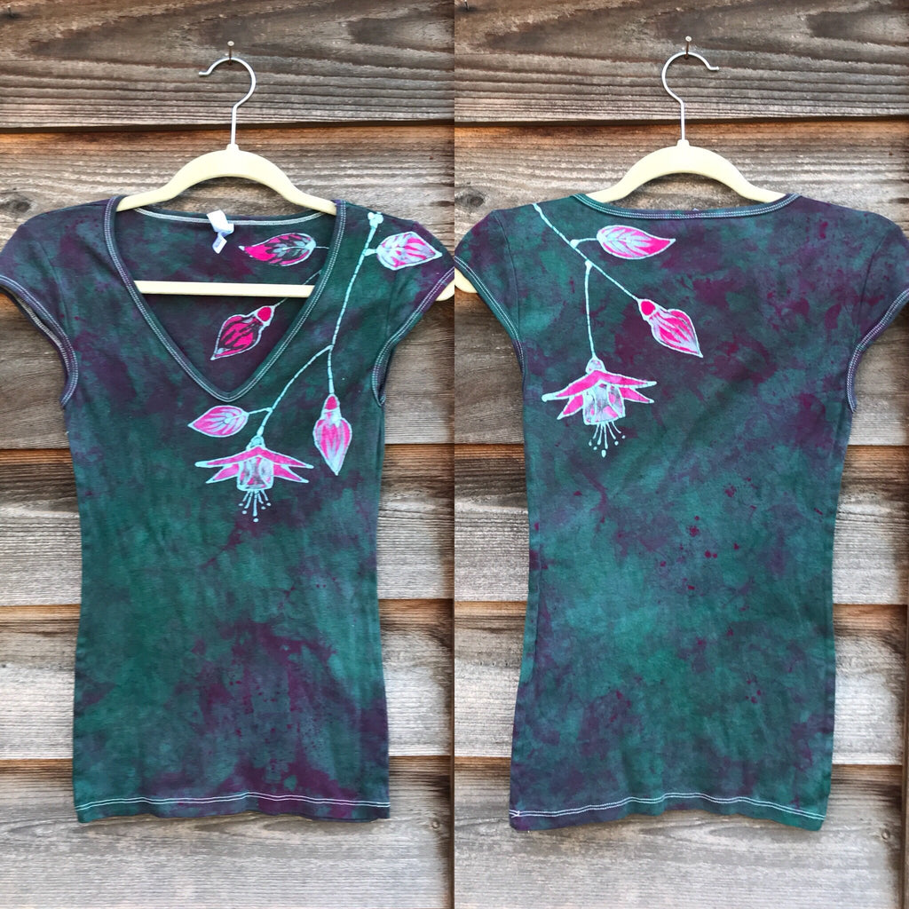 Fuchsias Are Beautiful And Bring Life Hand Painted Batik Stretchy Tee